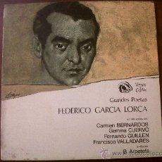 Discos de vinilo: LP GRANDES POETAS FEDERICO GARCIA LORCA-FIDIAS 1968-BERNADOS-CUERVO-GUILLEN-VALLADARES. Lote 35483886