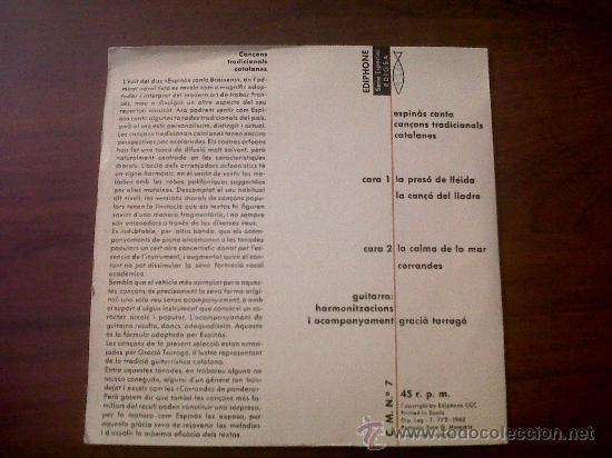 Discos de vinilo: CANÇONS TRADICIONALS CATALANES-J.M.ESPINAS EDIGSA 1962-LA PRESÓ DE LLEIDA-LA CANÇO DEL LLADRE - Foto 3 - 35538410