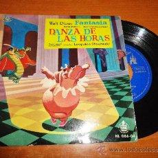 Discos de vinilo: WALT DISNEY FANTASIA BANDA SONORA DANZA DE LAS HORAS PONCHIELLI SINGLE DE VINILO AÑO 1960 2 TEMAS. Lote 35572859