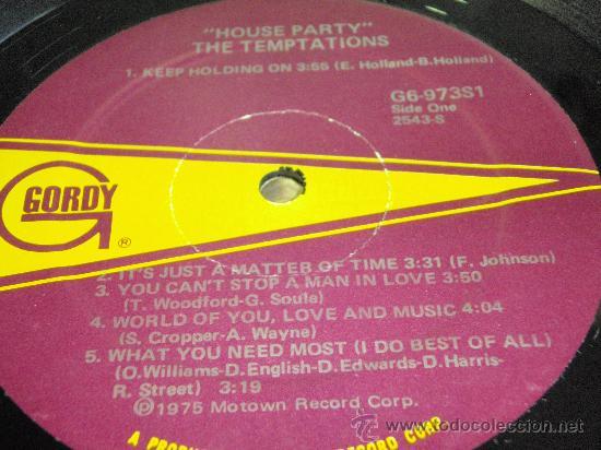 Discos de vinilo: THE TEMPTATIONS ( HOUSE PARTY ) USA - 1975 LP33 MOTOWN RECORDS - Foto 3 - 35579042