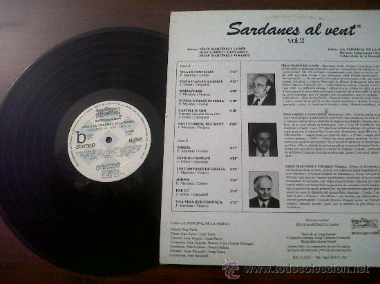 Discos de vinilo: SARDANES AL VENT-VOL.2-COBLA PRINCIPAL DE LA BISBAL-AUDIOVISUALS DE SARRIA-1986 - Foto 2 - 35599177