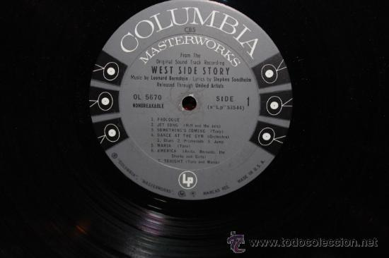 Discos de vinilo: west side story / LEONARD BERNSTEIN 1961 !! RARA 1ªEDIC. ORIG USA MASTERWORKS !! - Foto 5 - 35627647