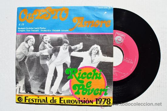 RICHI E POVERI - QUESTO AMORE/ANIMA (NOVOLA SINGLE 1978) ESPAÑA (Música - Discos - Singles Vinilo - Festival de Eurovisión)