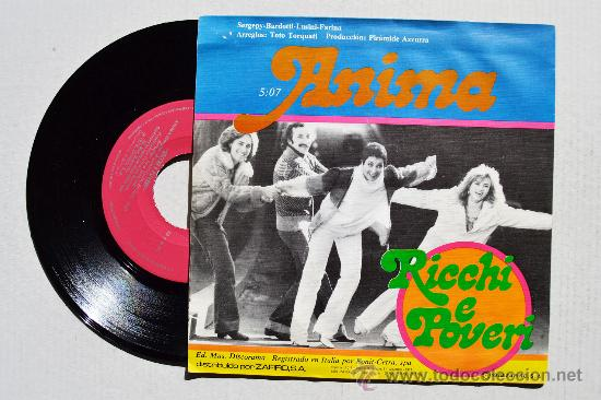 Discos de vinilo: RICHI E POVERI - QUESTO AMORE/ANIMA (NOVOLA SINGLE 1978) ESPAÑA - Foto 2 - 35672124