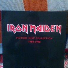 Discos de vinilo: IRON MAIDEN - PICTURE DISC COLLECTION 1980-1988 BOX 8 LP'S + 2 LP'S BOOTLEG BONUS. Lote 35701911