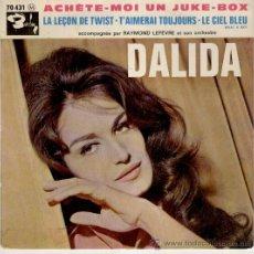 Discos de vinilo: DALIDA - LA LEÇON DE TWIST - ECHETE MOI UN JUKE BOX + 2 - EP FRANCE VG++ / VG++. Lote 35795603