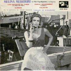 Discos de vinilo: MELINA MERCOURI - LES ENFANTS DU PIREE + 3 - EP SPAIN 1966 EX / VG++. Lote 35797491