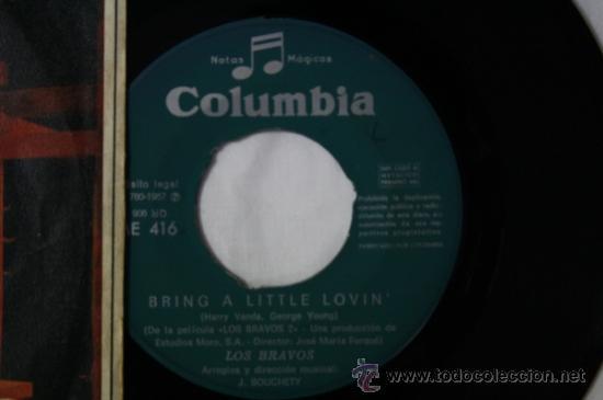 Discos de vinilo: Single Los Bravos - Bring a Little Loving/ Make It Last - Columbia Deposito 1967 - Foto 2 - 35793959