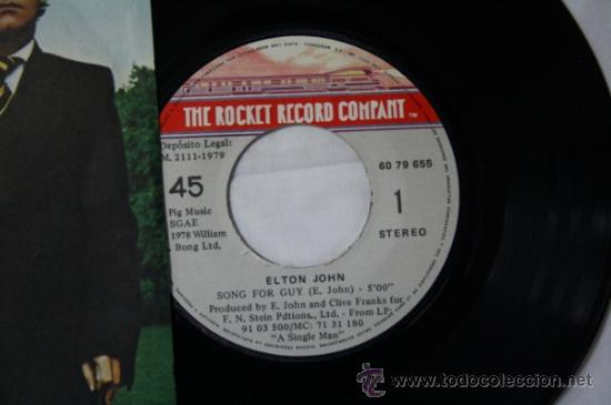 Discos de vinilo: Single Elton John - Song for Guy/ Lovesick - Fonogram España Deposito 1979 - Foto 2 - 55316554
