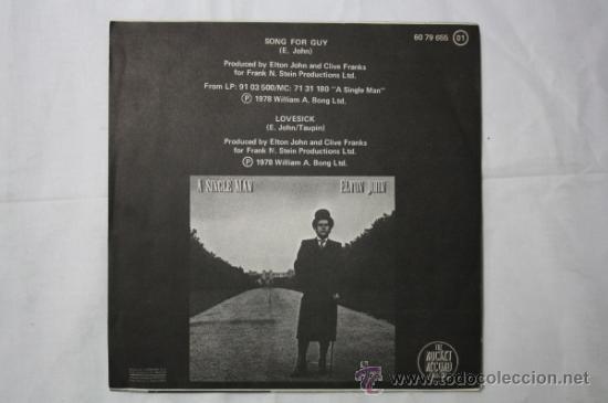 Discos de vinilo: Single Elton John - Song for Guy/ Lovesick - Fonogram España Deposito 1979 - Foto 3 - 55316554