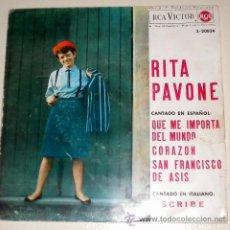 Discos de vinilo: RITA PAVONE - QUE IMPORTA EL MUNDO - CORAZON .... RCA 1.964. Lote 35863421