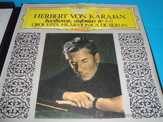 Discos de vinilo: HERBERT VON KARAJAN DIRECTOR DE LA ORQUESTA FILARMONICA DE BERLIN, BEETHOVEN SINFONIAS Nº 8 - 9, - Foto 3 - 35933597
