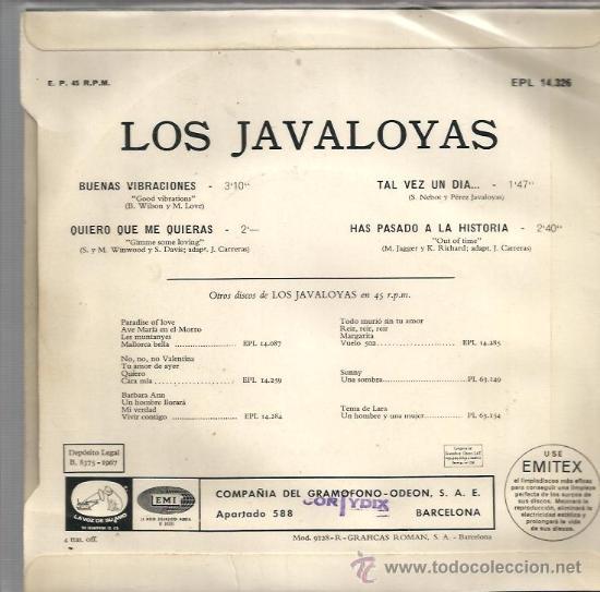 Discos de vinilo: EP LOS JAVALOYAS ( VERSIONES EN ESPAÑOL DE BEACH BOYS, SPENCER DAVIS GROUP Y THE ROLLING STONES) - Foto 2 - 35953485