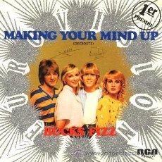 Discos de vinilo: BUCKS FIZZ ··· MAKING YOUR MIND UP / DON'T STOP - (SINGLE 45 RPM) ··· EUROVISION'81. Lote 20517507