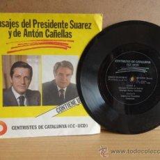 Discos de vinilo: MENSAJES DEL PRESIDENTE SUÁREZ Y DE ANTÓN CAÑELLAS. SINGLE FLEXIDISC / 1980. POLITICA.***/***. Lote 35970682