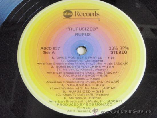 Discos de vinilo: RUFUS featuring CHAKA KHAN ( RUFUSIZED ) NEW YORK-USA 1974 LP33 ABC RECORDS - Foto 4 - 5187000