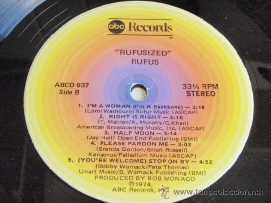 Discos de vinilo: RUFUS featuring CHAKA KHAN ( RUFUSIZED ) NEW YORK-USA 1974 LP33 ABC RECORDS - Foto 5 - 5187000