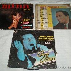 Discos de vinilo: TRES DISCOS DE VINILO VARIOS ESTILOS (GARY GLITTER-MINA-NICO FIDENCO). Lote 36021100