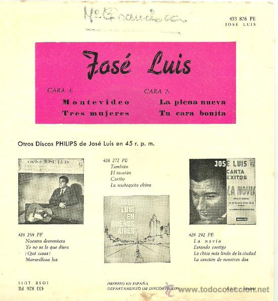 Discos de vinilo: JOSE LUIS Montevideo + 3 MUY RARO EP PHILIPS 1962 @ UN EP COMO NUEVO - Foto 2 - 36026542