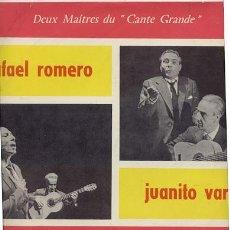 Discos de vinilo: LP 25 CM 10 PULGADAS 33 RPM /RAFAEL ROMERO -JUANITO VAREA (DEUX MAITRES DU CANTE GRANDE//EDITADO BAM. Lote 36084348