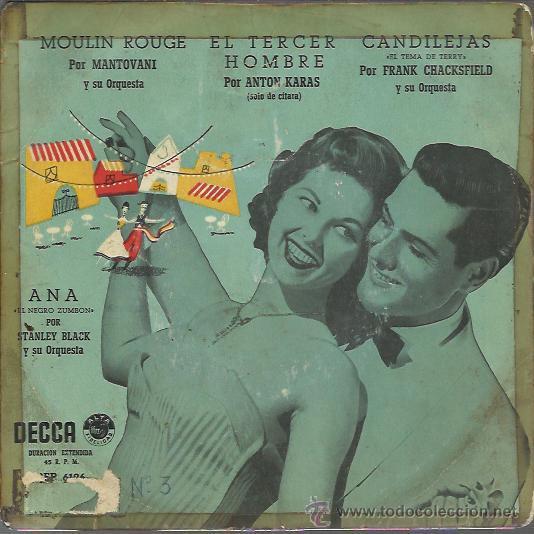 MANTOVANI / STANLEY BLACK / ANTON KARAS / FRANK CHASFIELD - ANA / MOULIN ROUGE / EL - EP DECCA 195? (Música - Discos de Vinilo - EPs - Orquestas)