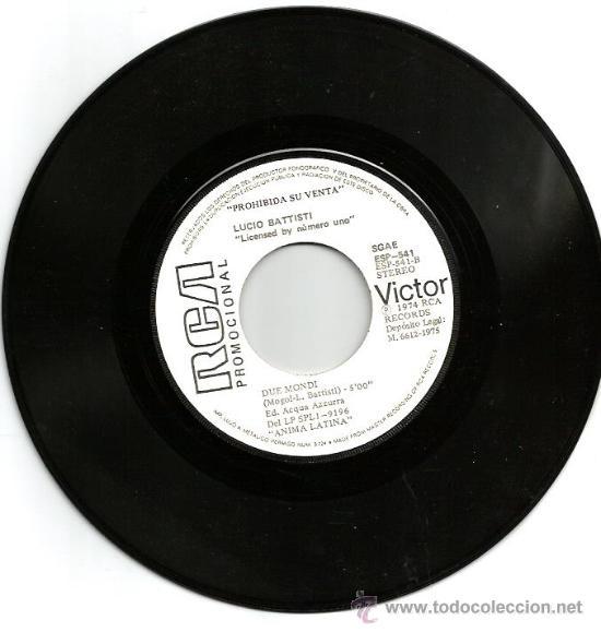 Discos de vinilo: PROMO SINGLE LUCIO BATTISTI : ANIMA LATINA - Foto 3 - 36278437