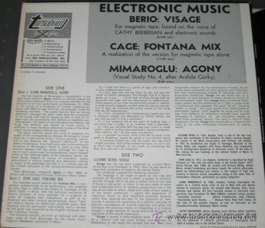 Discos de vinilo: John Cage, Luciano Berio, Ilhan Mimaroglu – Electronic Music - Foto 3 - 36301463