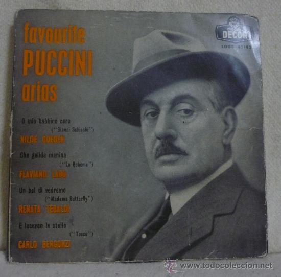 PUCCINI - ARIAS FAVORITAS DE PUCCINI - EP DECCA - SDGE 80182 - ESPAÑA 1959 -SC (Música - Discos de Vinilo - EPs - Clásica, Ópera, Zarzuela y Marchas)