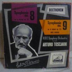 Discos de vinilo: BEETHOVEN / ARTURO TOSCANINI - SYMPHONIE 8/9 - LP LA VOIX DE SON MAÎTRE - FRANCIA. Lote 36393126