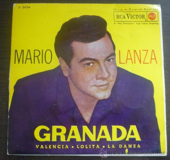 MARIO LANZA - GRANADA - EP RCA VICTOR - 3-26184 - ESPAÑA 1962 (Música - Discos de Vinilo - EPs - Clásica, Ópera, Zarzuela y Marchas)