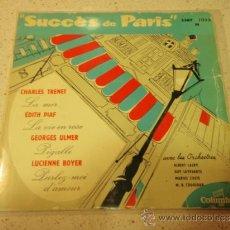 Discos de vinilo: 'SUCC'ES DE PARIS' CHARLES TRENET ( LA MER ) EDITH PIAF ( LA VIE EN ROSE ) GEORGES ULMER ( PIGA. Lote 36598798