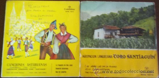 PORTADAS SUELTAS DE DOS EPS DE LA AGRUPACIÓN LANGREANA CORO SANTIAGUÍN (Música - Discos de Vinilo - EPs - Flamenco, Canción española y Cuplé)