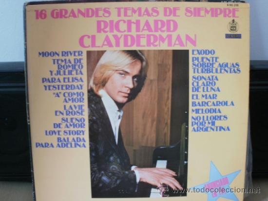 RICHARD CLAYDERMAN 16 GRANDES TEMAS DE SIEMPRE (Música - Discos - LP Vinilo - Clásica, Ópera, Zarzuela y Marchas)