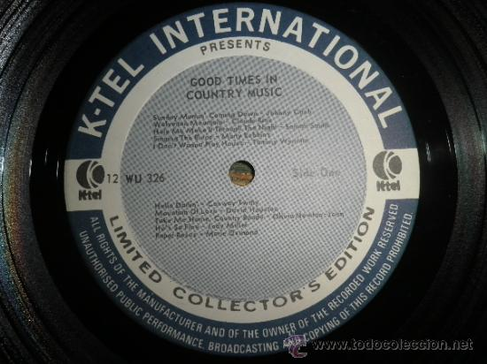 Discos de vinilo: GOOD TIMES IN COUNTRY MUSIC VOL. 8 LP - ORIGINAL U.S.A. K-TEL 1974 - LIMITED COLLECTOR´S EDITION - - Foto 4 - 36674794
