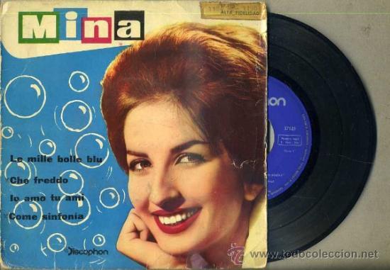MINA : LE MILLE BOLLE BLU - SAN REMO 1961 (Música - Discos de Vinilo - EPs - Canción Francesa e Italiana)
