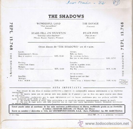 Discos de vinilo: THE SHADOWS - WONDERFUL LAND - THE SAVAGE - PEACE PIPE - STARS FELL ON STOCKTON - Foto 2 - 36796609