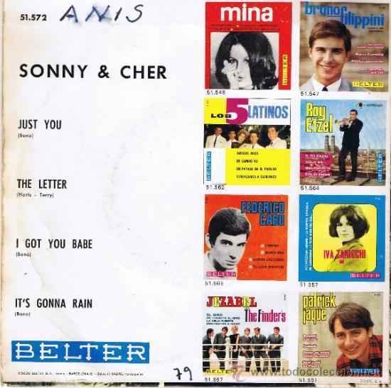 Discos de vinilo: SONNY - CHER - JUST YOU - THE LETTER - I GOT YOU BABE - ITS GONNA RAIN - 1965 - Foto 2 - 36795986