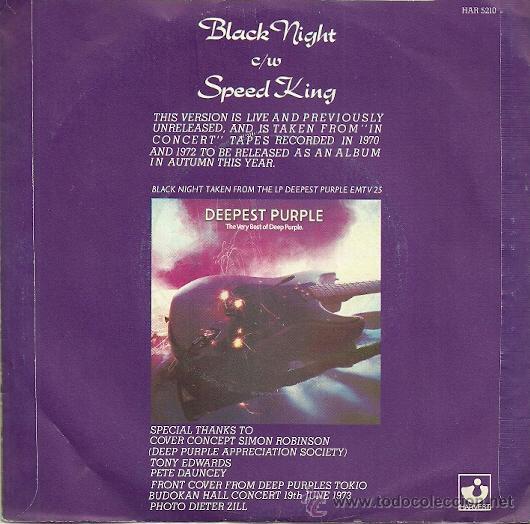 Discos de vinilo: DEEP PURPLE SINGLE SELLO HARVEST AÑO 1970 EDITADO EN INGLATERRA - Foto 2 - 36721862