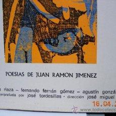 Discos de vinilo: POESIAS DE JUAN RAMÓN JIMÉNEZ LP. Lote 36788792