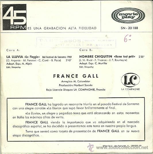 Discos de vinilo: FRANCE GALL CANTA EN ESPAÑOL SINGLE SELLO MOVIEPLAY AÑO 1969 EDITADO EN ESPAÑA - Foto 2 - 36804171
