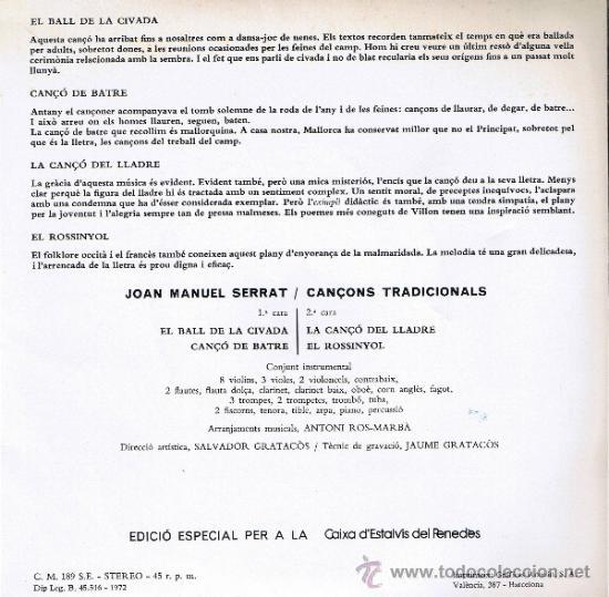 Discos de vinilo: JOAN MANUEL SERRAT - CANÇONS TRADICIONALS - EL BALL DE LA CIVADA - CANÇÓ DE BATRE - 1972 - Foto 2 - 36814830