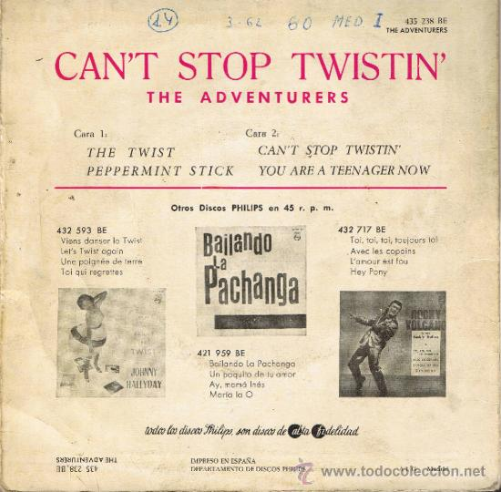 Discos de vinilo: THE ADVENTURERS - CANT STOP TWISTIN - THE TWIST - PEPPERMINT STICK - YOU ARE A TEENAGER NOW - 1962 - Foto 2 - 36814546