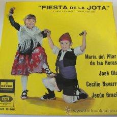 Discos de vinilo: FIESTA DE LA JOTA - CUATRO JOTEROS Y CUATRO ESTILOS - EP DE 1961. Lote 36851256
