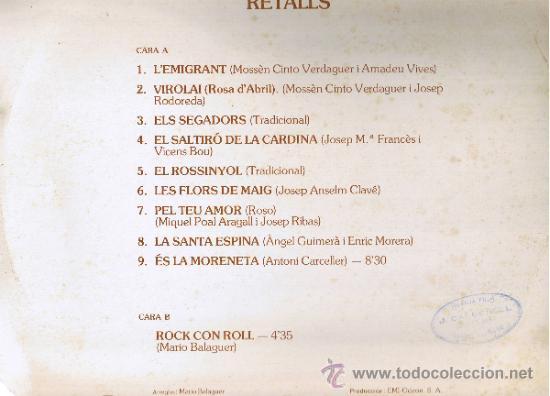 Discos de vinilo: RETALLS - MARIO BALAGUER - FOTO ADICIONAL - Foto 2 - 36840302