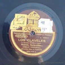 Discos de vinilo: DISCO DE PIZARRA LOS CLAVELES MUJERES, MARIPOSITAS... EMILIO VENDRELL ODEON GRAMÓFONO . Lote 36885910