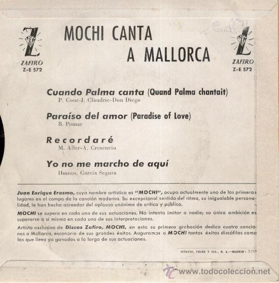 Discos de vinilo: MOCHI - CUANDO PALMA CANTA - - ( PRIMER DISCO DE MOCHI ) - EP 1964 VG++ / VG++ - Foto 2 - 36886905