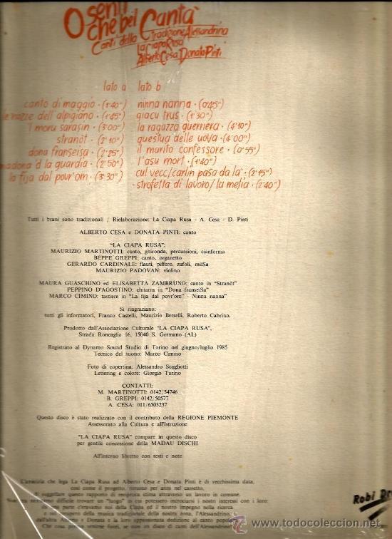 Discos de vinilo: LP LA CIAPA RUSA : O SENTI CHE BEL CANTA - Foto 2 - 36965758