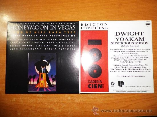 DWIGHT YOAKAM SUSPICIOUS MINDS HONEYMOON IN VEGAS ELVIS PRESLEY SINGLE VINILO PROMO CADENA 100 RARO (Música - Discos - Singles Vinilo - Bandas Sonoras y Actores)