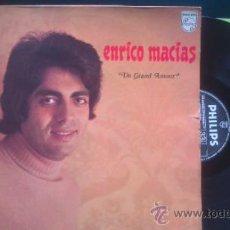 Discos de vinilo: ENRICO MACIAS UN GRAND AMOUR / LP PHILIPS 6332 023 FRANCE PEPETO. Lote 37043440