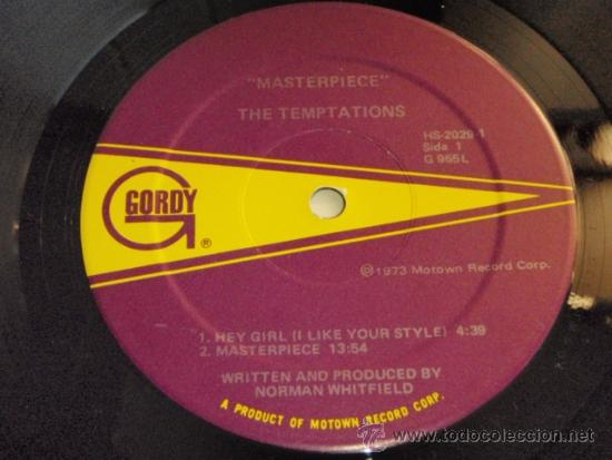 Discos de vinilo: TEMPTATIONS ( MASTERPIECE ) CALIFORNIA-USA 1973 LP33 MOTOWN RECORD - Foto 3 - 37054037